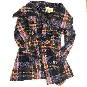 BKE Plaid Wool Blend Pea Coat  Size Small